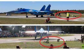 طائرة حربية أوكرانية تتسبب بتطاير شخصين على مقربة منها