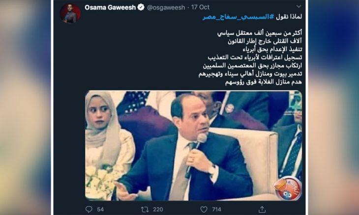 حملات مصرية متواصلة على شبكات التواصل تطالب بإزاحة السيسي