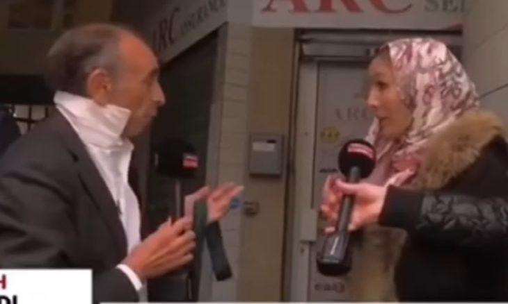 في مشهد أثار تساؤلات.. سيدة تخلع حجابها بطلب من إيريك زمور- (فيديوهات)